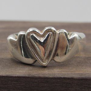 Size 6 Sterling Silver Unique Thick Heart Band